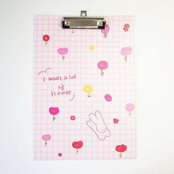 Prancheta Coelhinho/Flores Rosa -A4-MJ6089-3