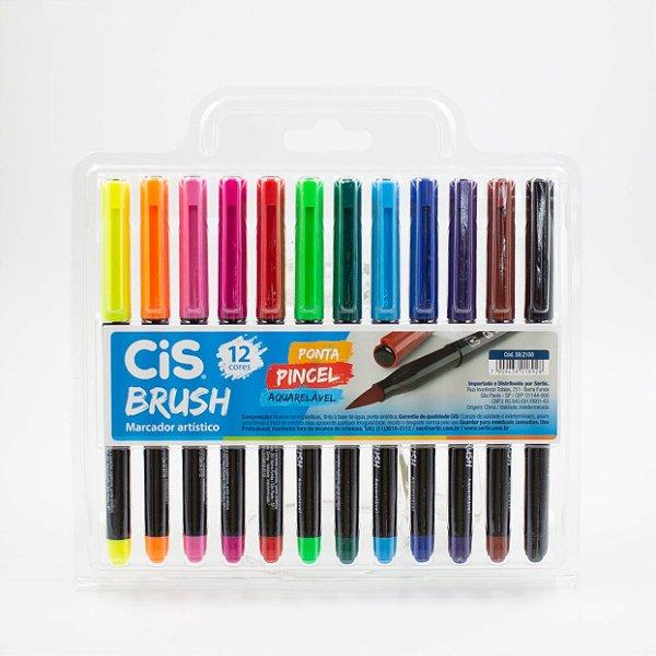 Caneta Brush Ponta Pincel Coloridas c/12pcs - CIS