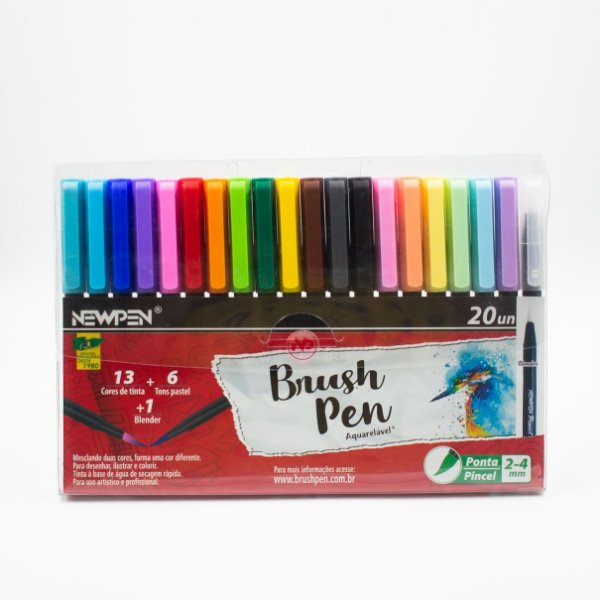 Caneta Brush Ponta Pincel Kit Completo Pastel + Coloridas +1 Blender - Newpen