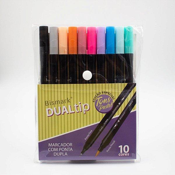 Caneta Brush  Dual Tip Tons Pastel c/10pcs  - Bismark/Yes