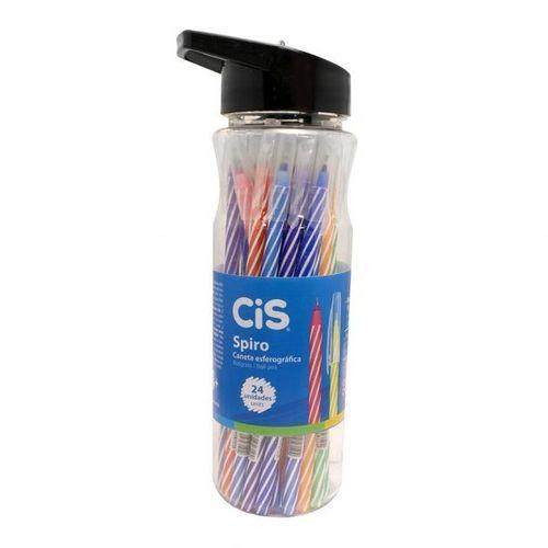 Caneta Cis Spiro Colorida Kit 24 unid na Garrafa - CIS