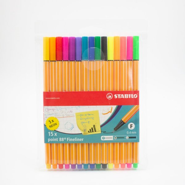 Caneta Stabilo Fineliner Point 88 Colors + Neon c/15 pcs  0.4mm - Stabilo
