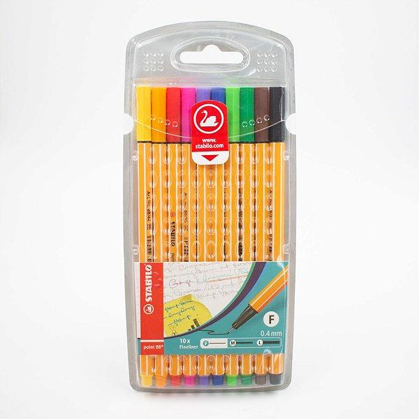 Caneta Stabilo Fineliner Point 88 Colors c/10 pcs  0.4mm