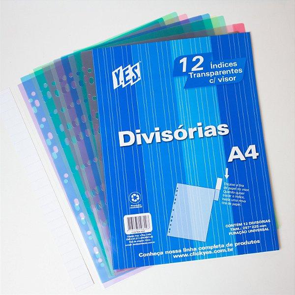 Divisórias Transparentes com visor A4 c/12 Unidades