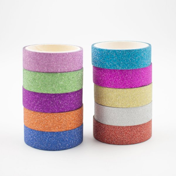 Fita Adesiva Decorativa  Washi Tape c/glitter  kit c/10 und.
