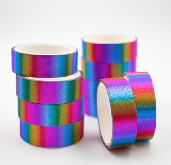 Fita Adesiva Decorativa  Washi Tape c/glitter arco iris  kit c/10 und.