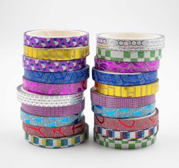 Fita Adesiva Decorativa  Washi Tape c/glitter  kit c/20 und.