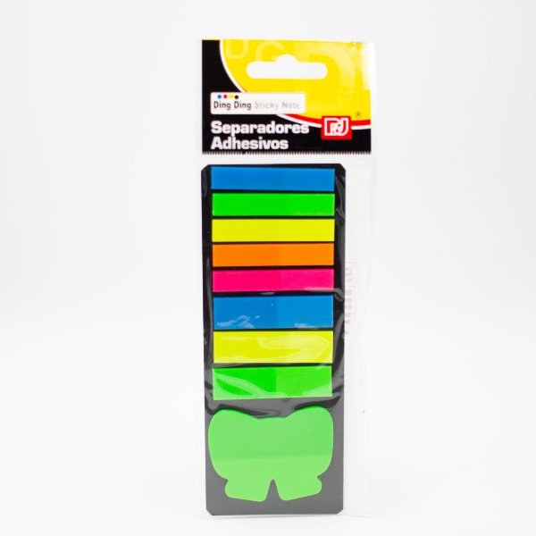 Marca Página Adesivo Colorido tiras e laço Cores Neon
