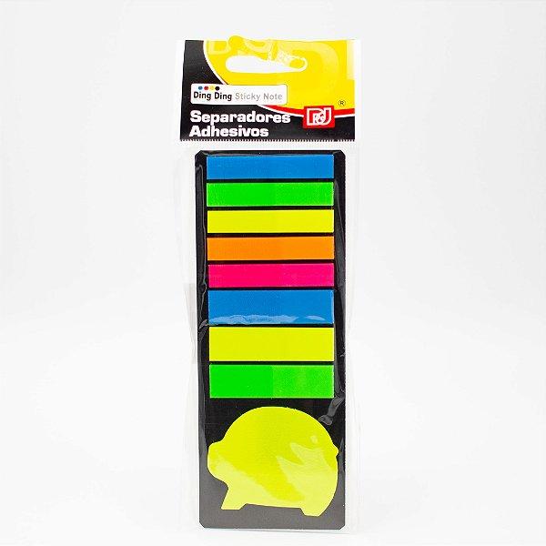 Marca Página Adesivo Colorido tiras e bichinhos Cores Neon