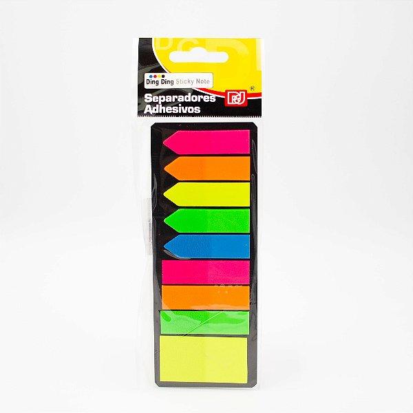 Marca Página Adesivo Colorido tiras e setas Cores Neon