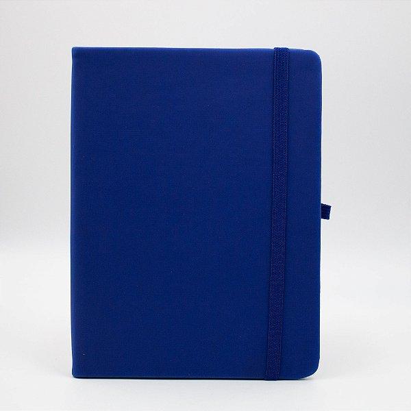 Caderno com Elástico sem Pauta Capa Azul Folhas Pólen
