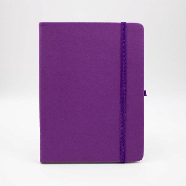 Caderno com Elástico sem Pauta Capa Roxa Folhas Pólen