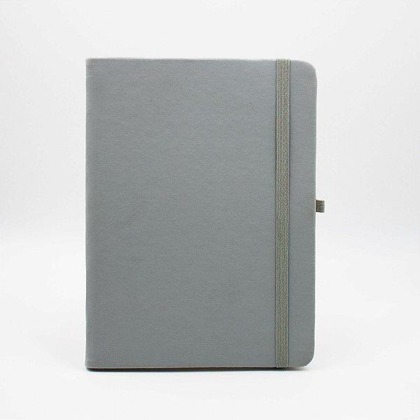 Caderno com Elástico sem Pauta Capa Cinza Folhas Pólen