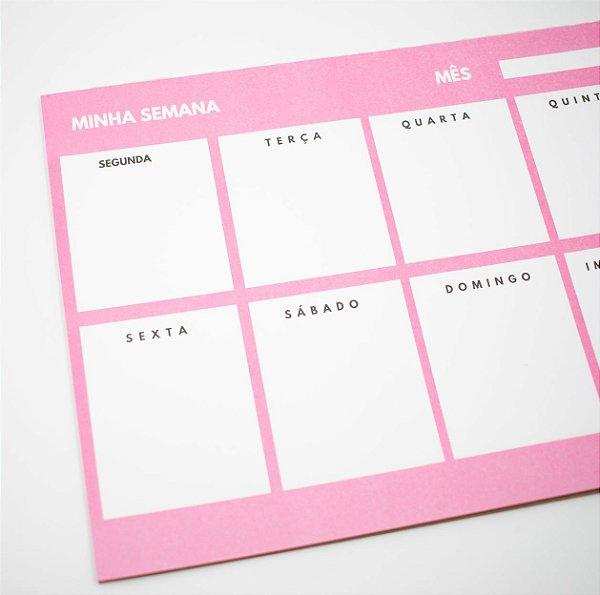 Bloco de Planner Minha Semana Tema Rosa c/24 Folhas