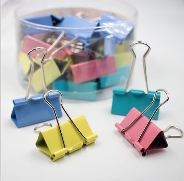 Binder Clips Coloridos Tons Pastel 25mm  c/48pcs BN318