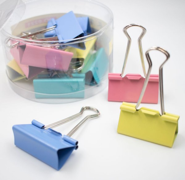 Binder Clips Coloridos Tons Pastel 41mm  c/24pcs BN319