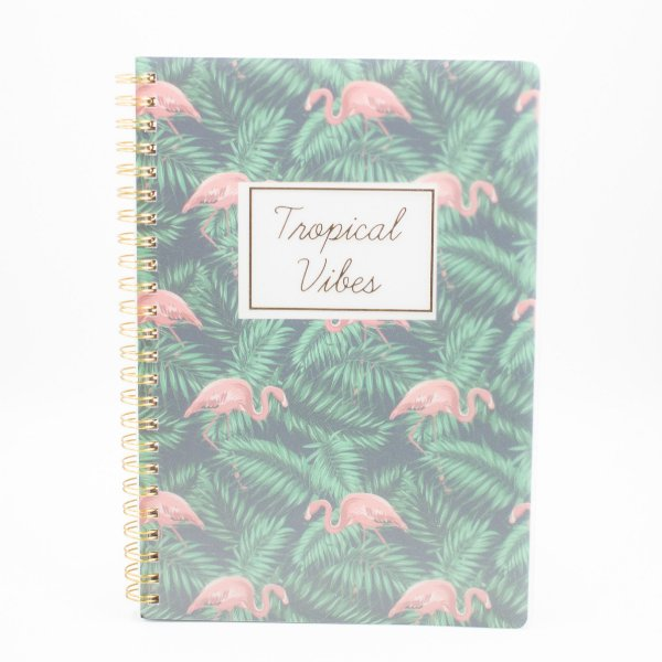 Caderno Espiral Tropical Vibes Flamingo  SL-NB0002