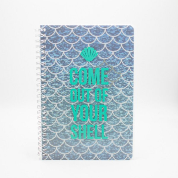 Caderno Espiral Sereia Azul Come Out Of Your Shell  SL-NB0009