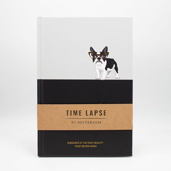 Caderno A5 Capa Dura Coleção Time Lapse- Buldog Francês de Óculos - Preto e Cinza