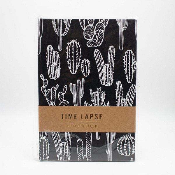 Caderno A5 Capa Dura Coleção Time Lapse - Cactus Preto e Branco SL- NB0012