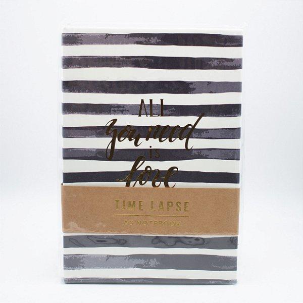 Caderno A5 Capa Dura Coleção Time Lapse - Listrado Preto SL- NB0011