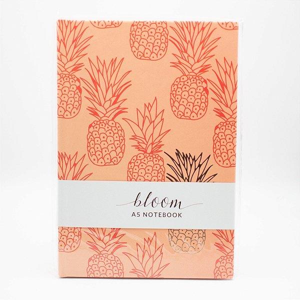 Caderno A5 Capa Dura Coleção Bloom - Abacaxi Coral - SL- NB0017