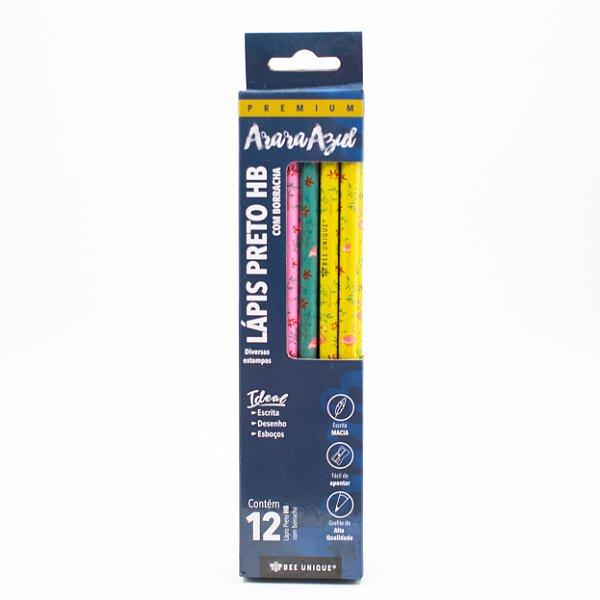 Lápis Preto HB Com Borracha Diversas Estampas c/12 unidades OD-PC0016