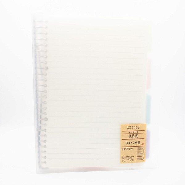 Caderno B5 C/70 Fls Removíveis Capa Transparente