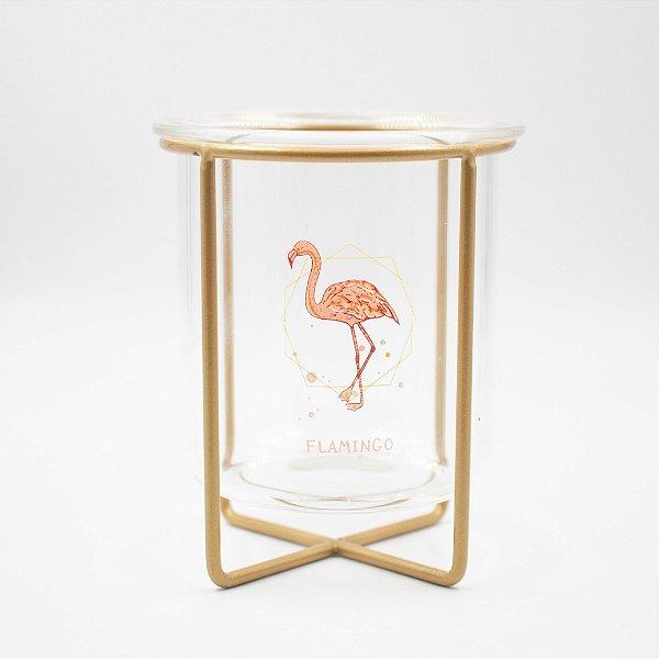 Porta Caneta Vidro Base de Metal Flamingo