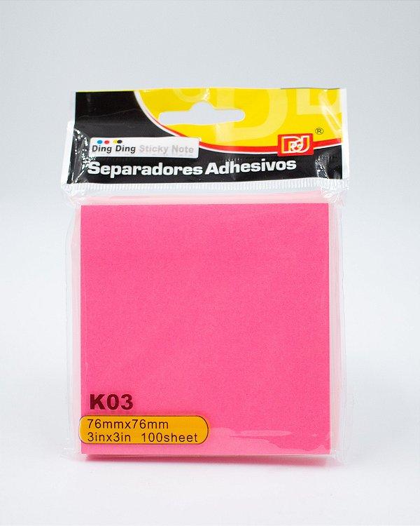 Bloco Autoadesivo Neon - c/ 90 folhas (Pink)