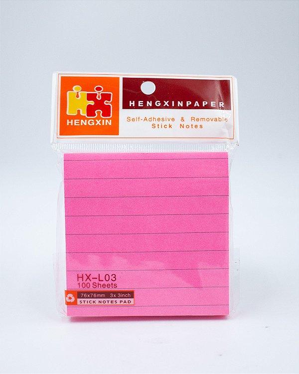 Bloco  Autoadesivo c/ Pauta - Pink ( 76x76mm )