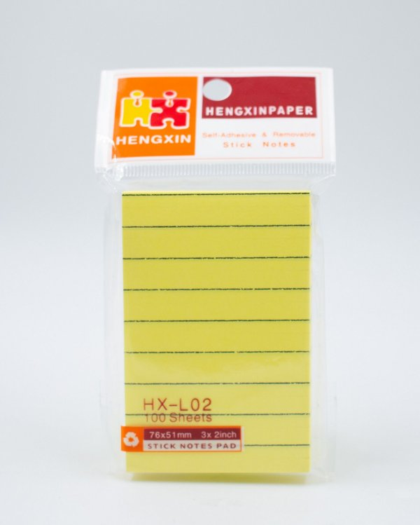 Bloco Autoadesivo c/ Pauta - Amarelo (76x51mm)