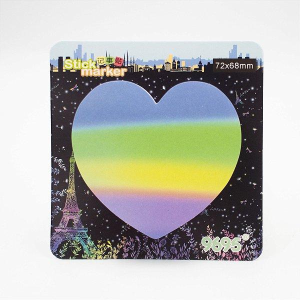 Bloco de Anotação - Autocolante c/ 90 folhas - Coração Arco Ires Az/Lilas/Am/Vd