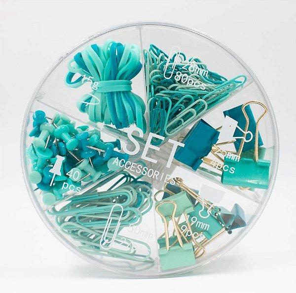 Kit Escritório Clips, Tachinha, binder clips, elástico cor Verde Sl- 190090