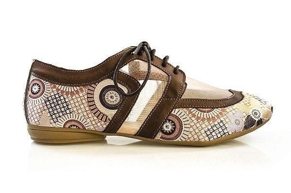 Sapato Cut Out Milii marrom/tela