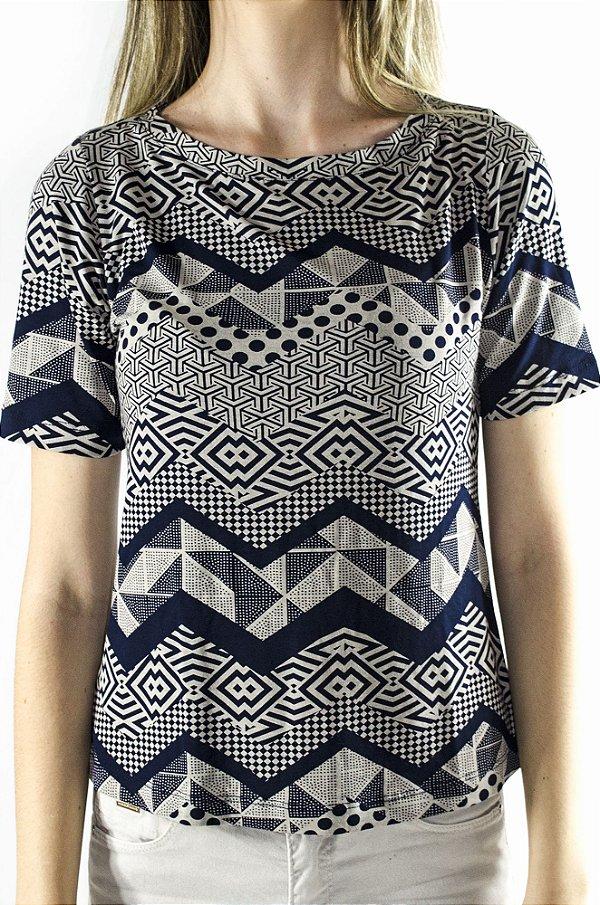 Blusa estampada azul/cinza