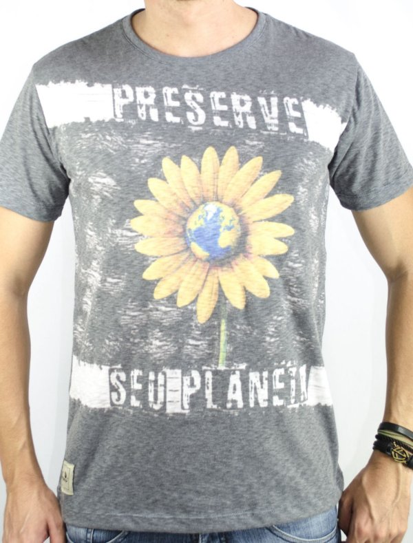 "Camiseta ""Preserve seu planeta"" mescla"