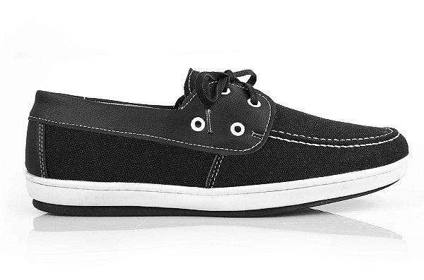Sapato dock side vegano preto