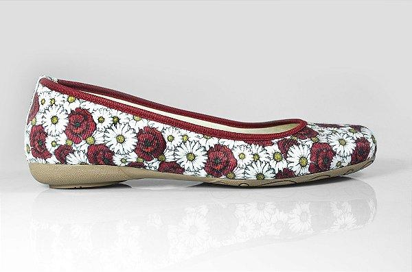 Sapatilha Alamanda floral/vermelho