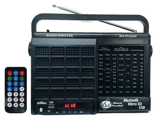 RM-PU32AC-Rádio Portátil 7 Faixas com entrada USB e SD card (Memory card)