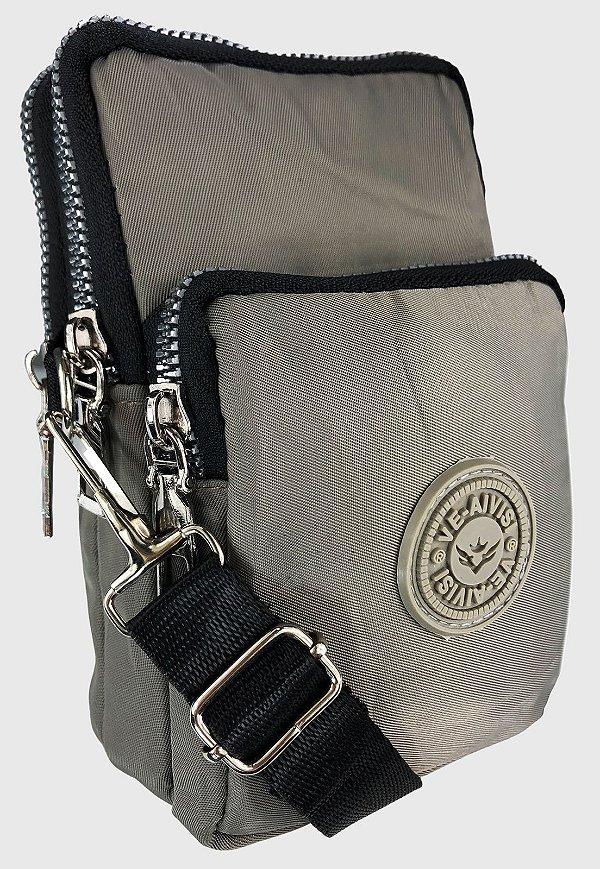 Shoulder Bag Bolsa Transversal de Nylon Cinza B027
