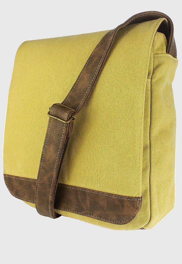 Bolsa Transversal de Lona Feminina Masculina Amarela A008