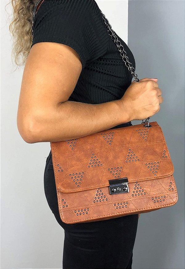 Bolsa Feminina Tiracolo com Pedraria Caramelo B017