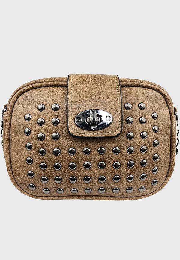 Bolsa Tiracolo Feminina Pequena com Pedraria Khaki B022