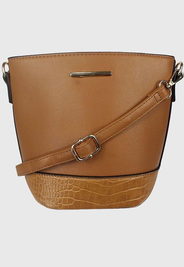 Bolsa Bucket Bag Transversal Caramelo B0283