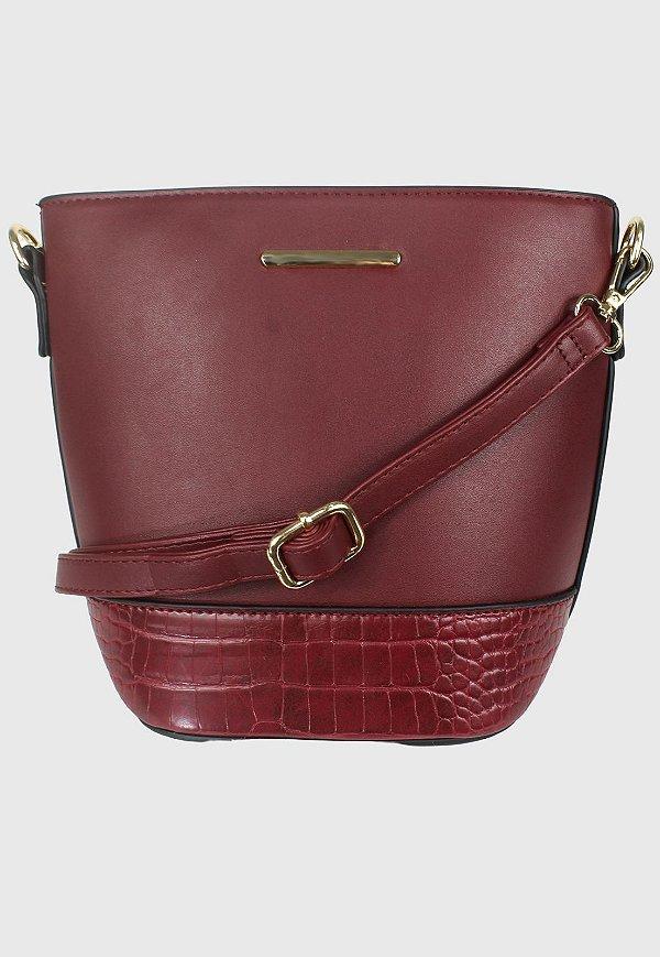 Bolsa Bucket Bag Transversal Bordô B0283