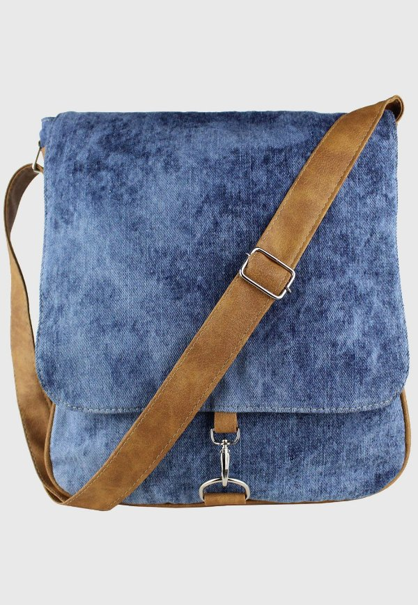 Bolsa Transversal Jeans Azul Manchado L068