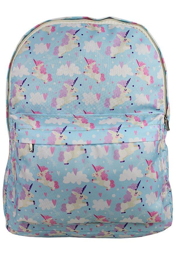 Mochila Escolar Juvenil Grande de Nylon Estampa Unicórnios Azul L099-24