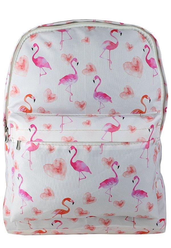 Mochila Escolar Juvenil Grande de Nylon Estampa Flamingo Rosa L099-8