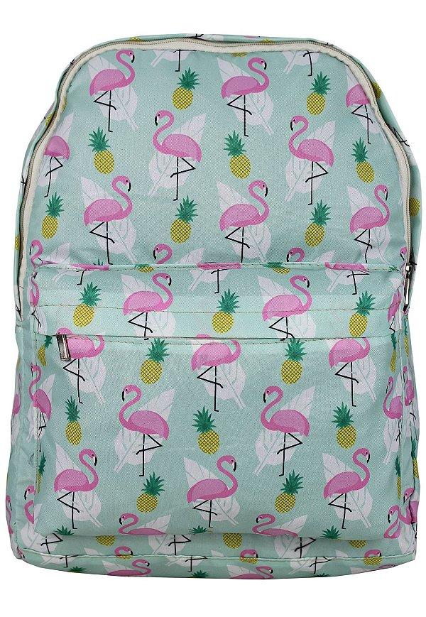 Mochila Escolar Juvenil Grande de Nylon Estampa Divertida Flamingo-Abacaxi Verde L099-20